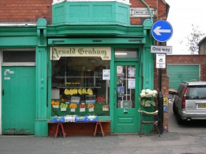 Storefront of  grocery store in Grantham, UK